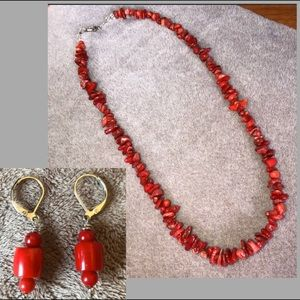 Red coral necklace & earring set, NWOT